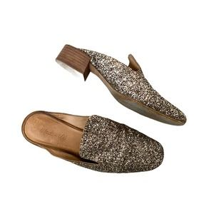 Madewell glitter embellished chunky block heel loafer mules size 8